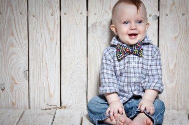 laughing stylish kid