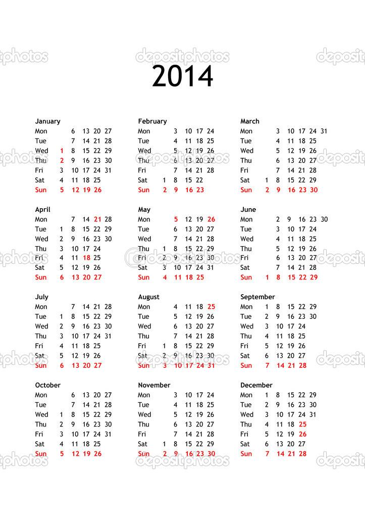Calendario Anno 2014.Calendario Dell Anno 2014 Foto Stock C Claudiodivizia