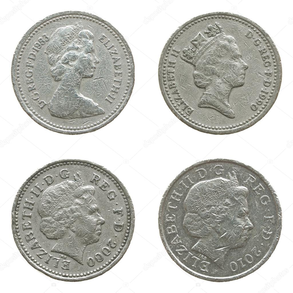 Die Königin Auf Ein Pfund Münze Redaktionelles Stockfoto
