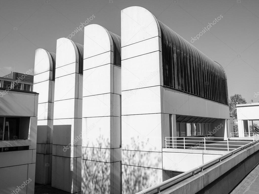 Bauhaus Charlottenburg black and white bauhaus archive in berlin stock photo
