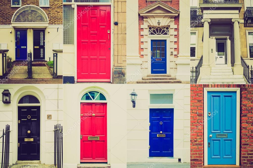 Retro look British doors u2014 Stock Photo & Retro look British doors u2014 Stock Photo © claudioizia #49429841