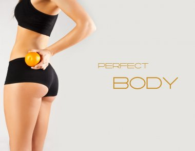 Concept of a healthy body. Beautiful bottom, fruit