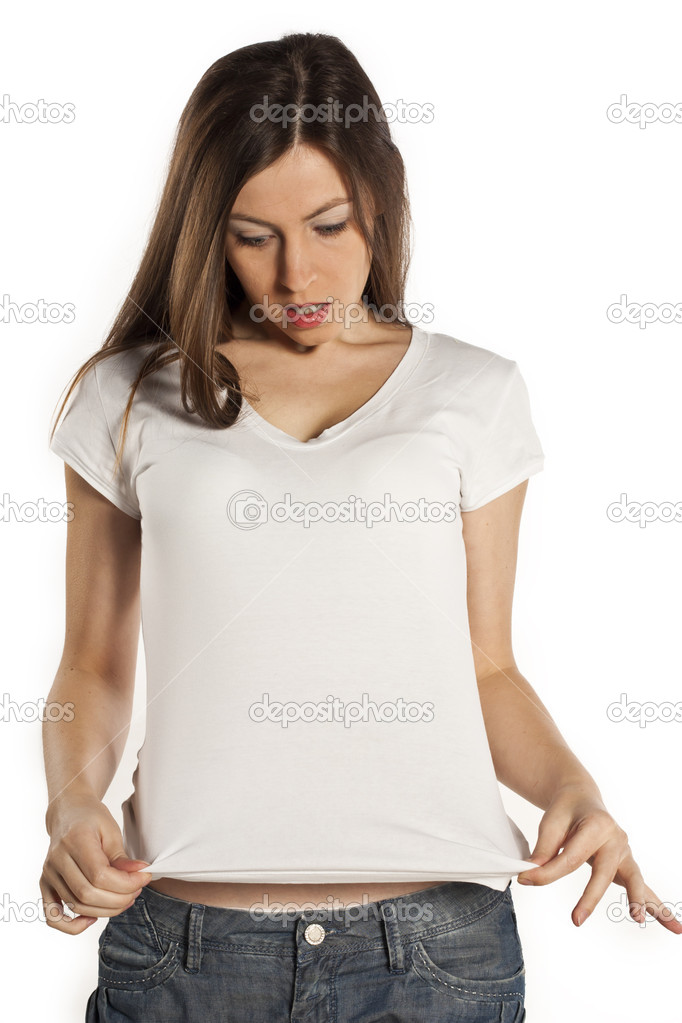 8eeca7bd6d0 Young beautiful women posing with blank white t-shirts — Stock Photo ...