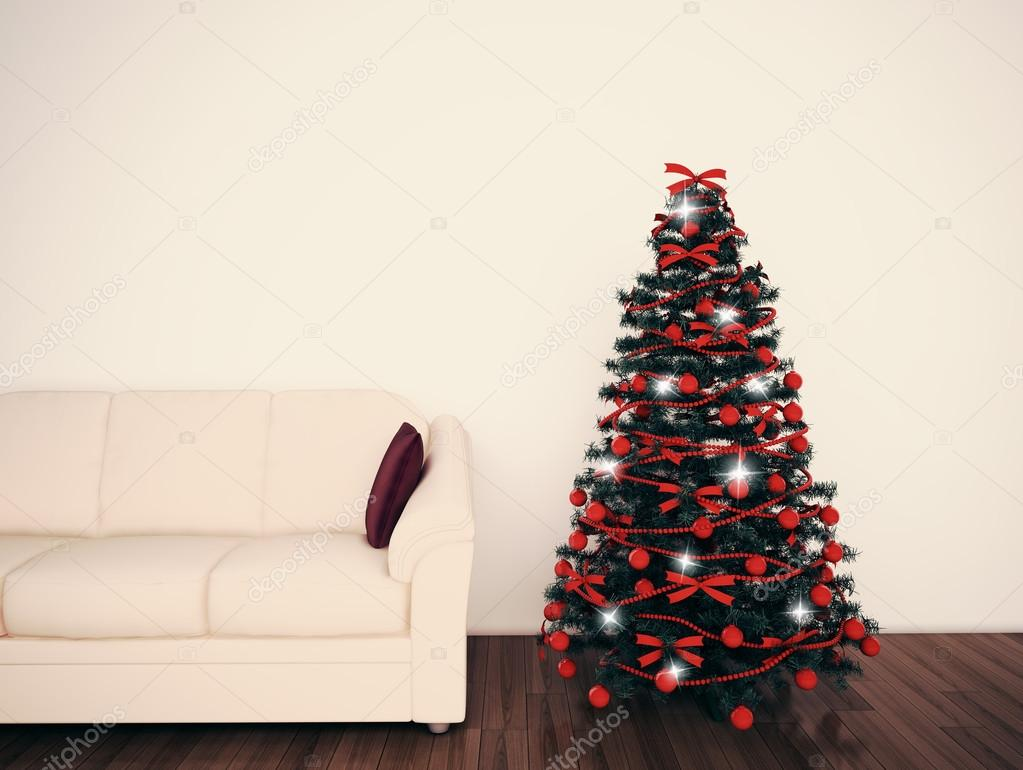Christmas tree in living room — Stock Photo © 876896789 #16193965