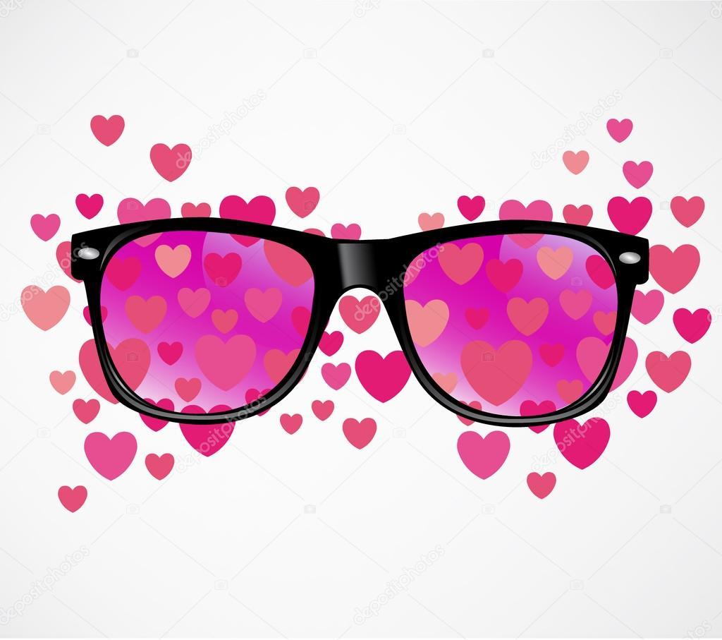b5eb6bbdb6f4d1 zonnebril en harten — Stockvector © 876896789  23345672