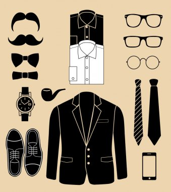 Set of man fashion elements vector