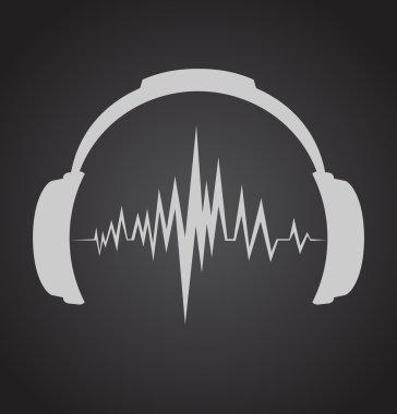 Headphones icon with sound wave beats stock vector