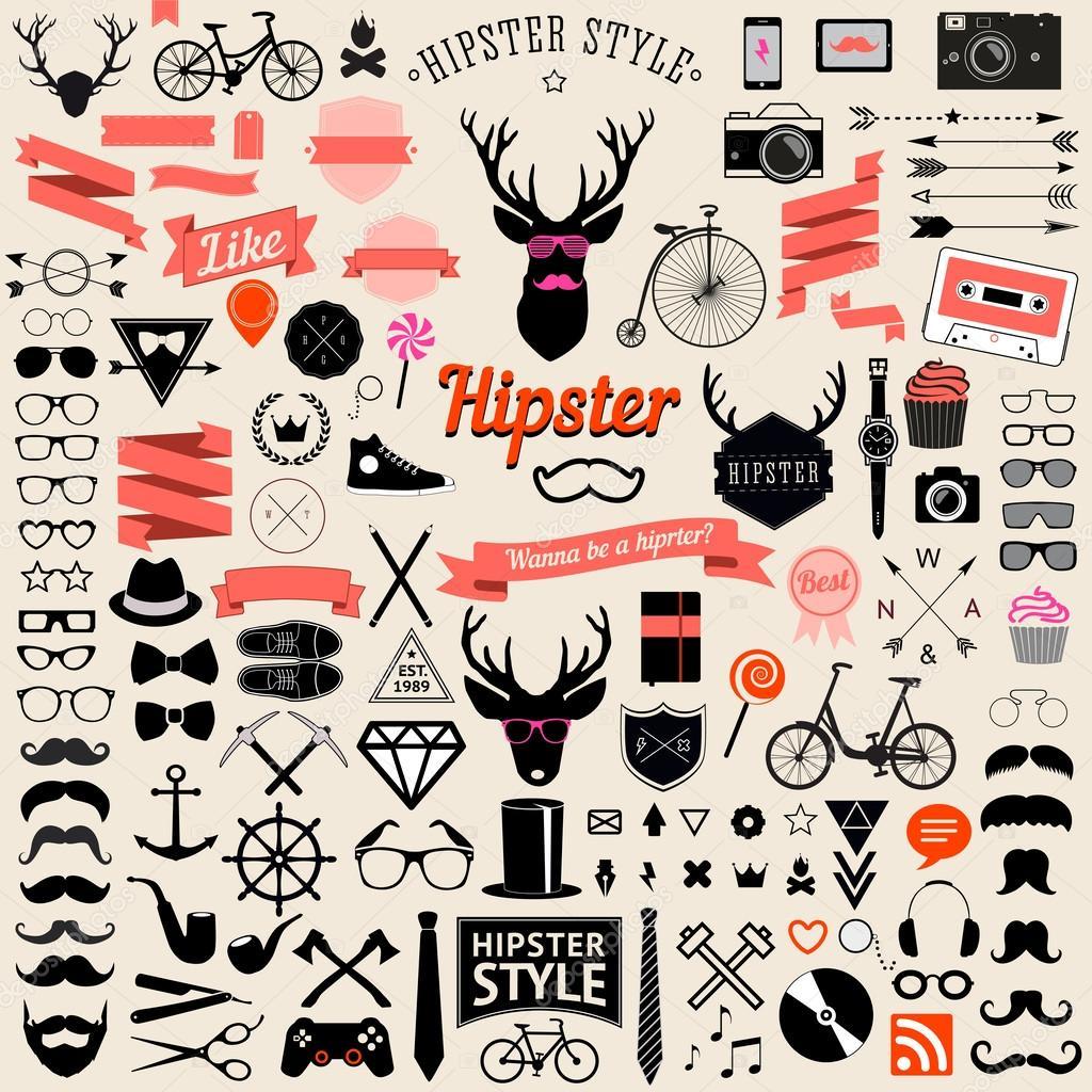 Huge set of vintage styled design hipster icons