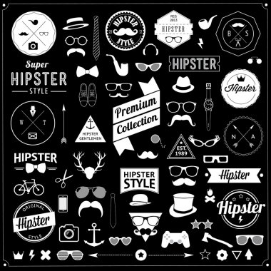 Huge set of vintage styled design hipster icons.