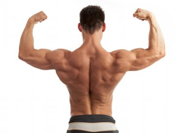 Rear view of a young man flexing his arm and back muscles over white background