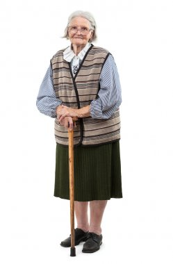 Old woman with a cane over white background