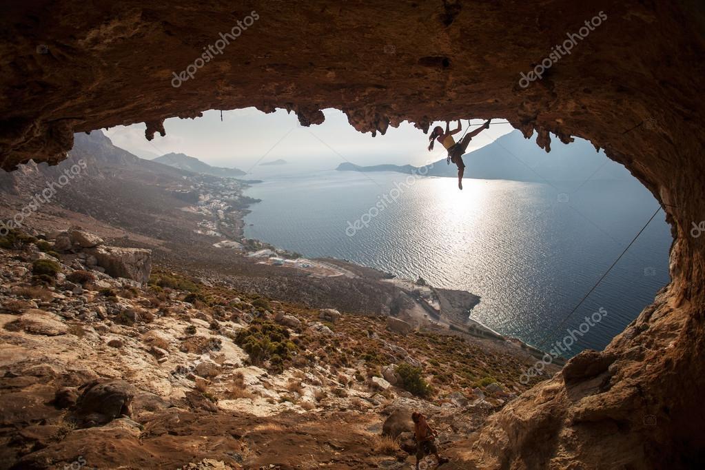 Family rock climber at sunset. Kalymnos, Greece.