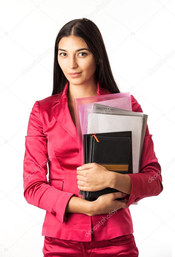 Девушка с прикрепленным файлом