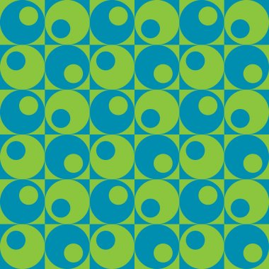 Circles In Squares Pattern in Blue and Green