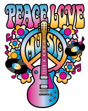 Peace-Love-Music in Pink and Blue