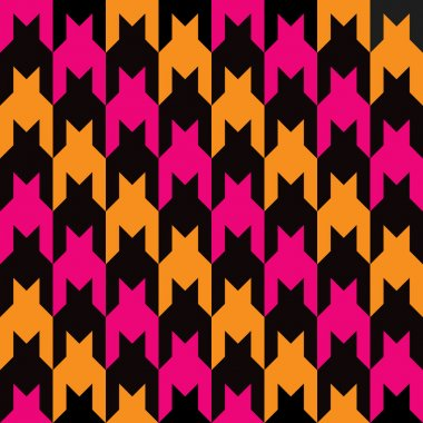 Diagonal Houndstooth in Pink, Orage and Black