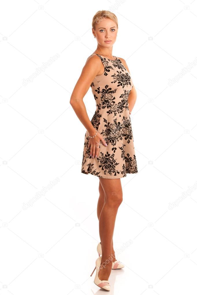 83abcd93da4929 Schattige blonde meisje in mooie jurk geïsoleerd over Wit — Stockfoto