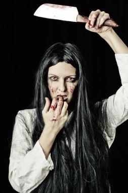 Portrait of zombie woman