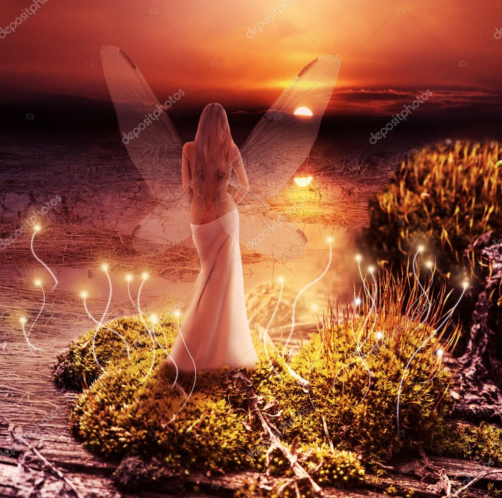 Fantasy magic world. Pixie and sunset