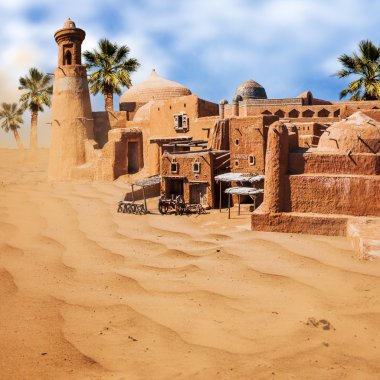 Old fantasy asian city in the desert