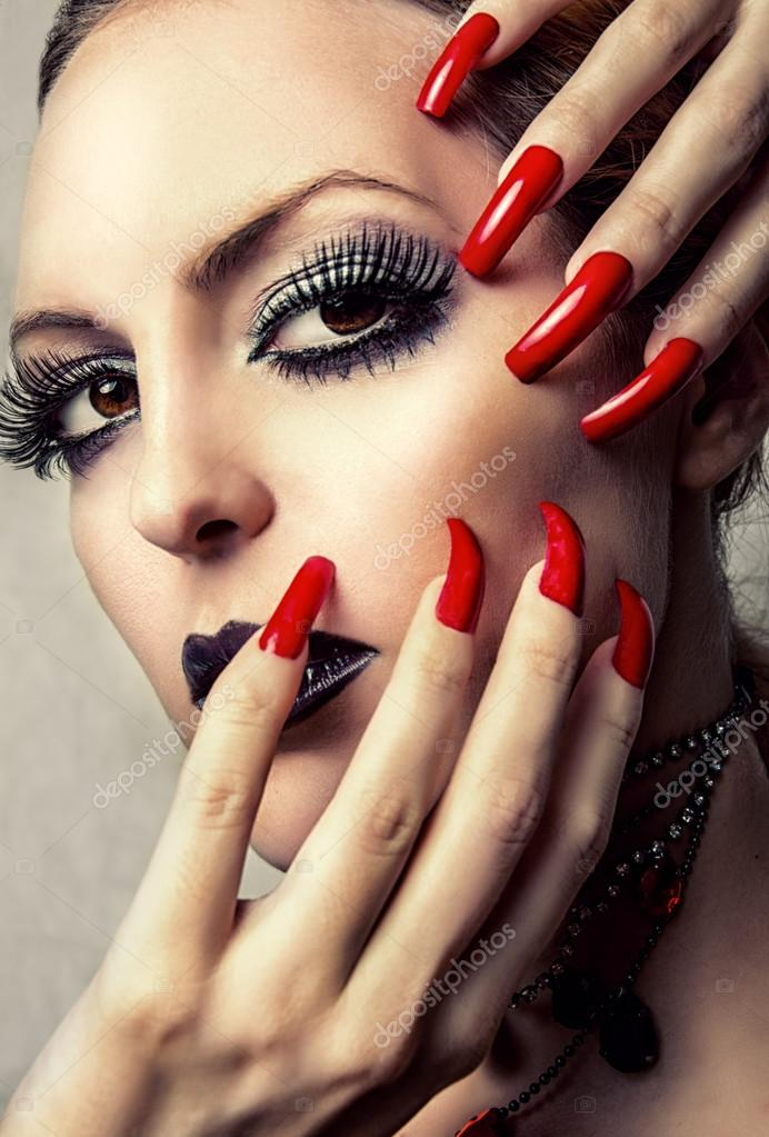Beautiful Make-up and long red Nails — Stock Photo © katalinks #30216565