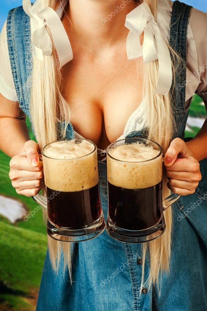 oktoberfest woman holding two beer mugs