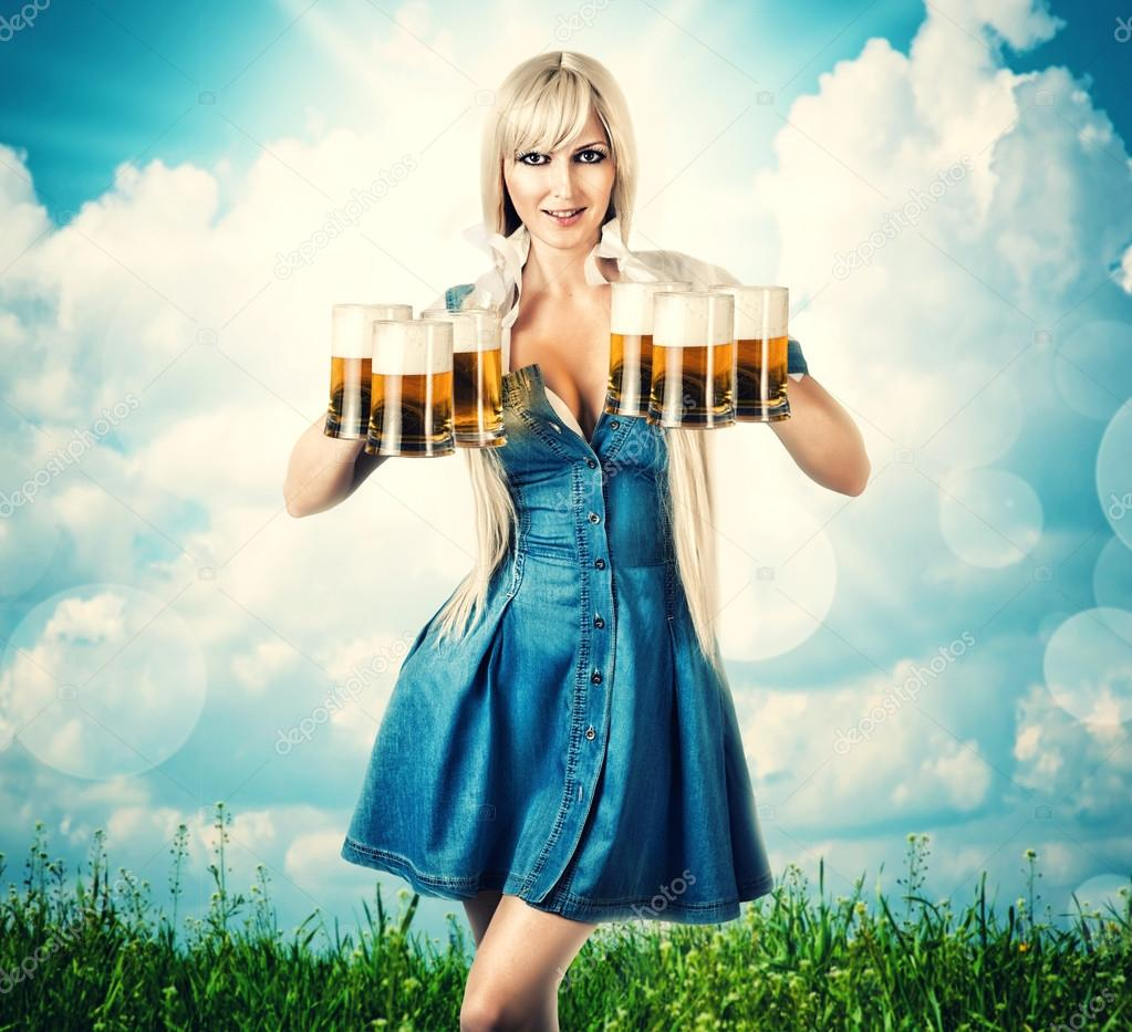 oktoberfest woman with six beer mugs