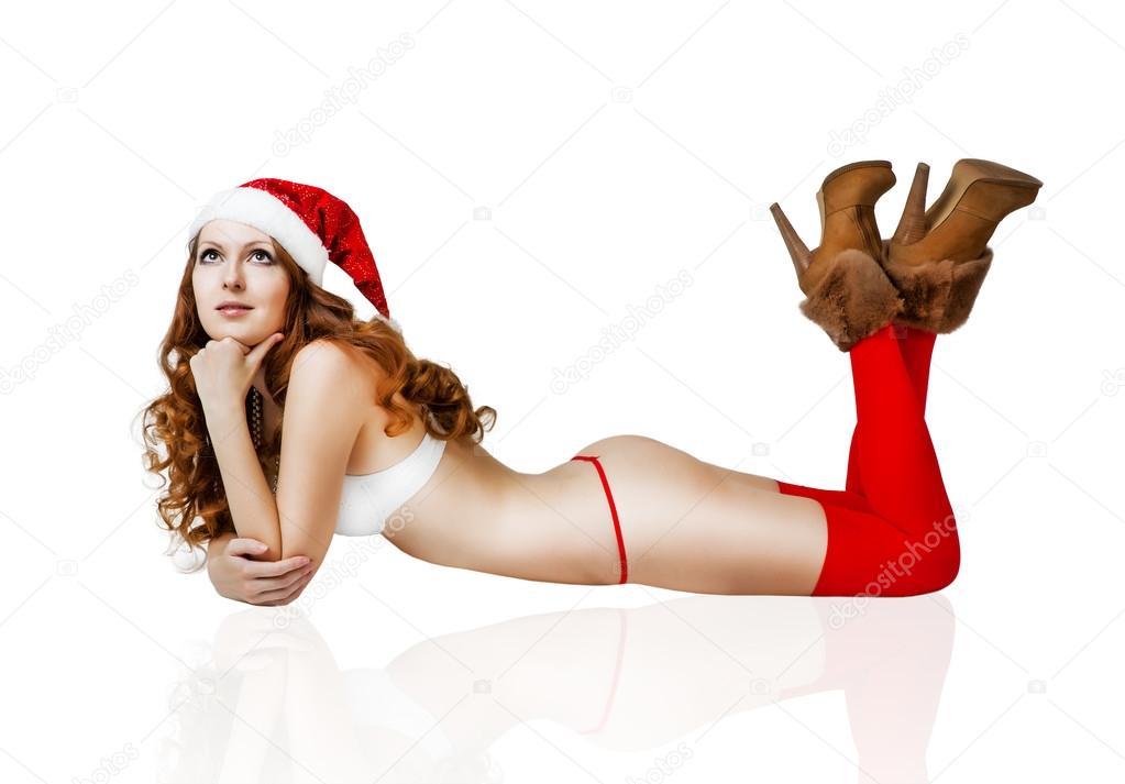 sexy weihnachten m dchen im roten weihnachtsmann m tze. Black Bedroom Furniture Sets. Home Design Ideas