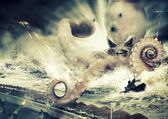 Photo War with a large sea monster - octopus alien