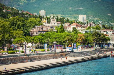 Beautiful view on embankment of Yalta