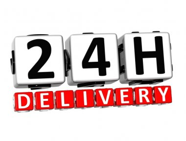 3D Twenty Four Hour Delivery Button Click Here Block Text