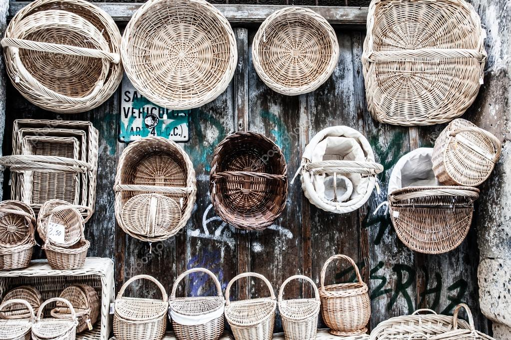 Wooden baskets and caskets on sale in street
