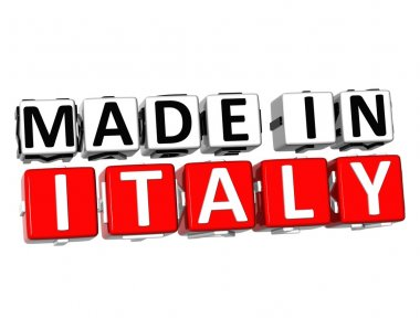 3D Made in Italy button over white background
