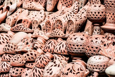 Traditional moroccan pottery at the market