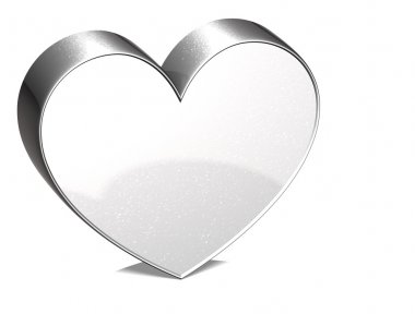 3D Heart Silver Sign over white background stock vector