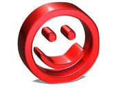 3D Smile Red Sign on white background