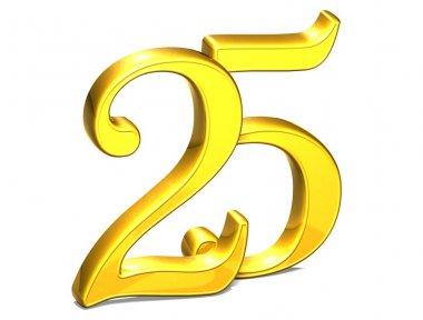 3D Gold Twenty-Five on white background