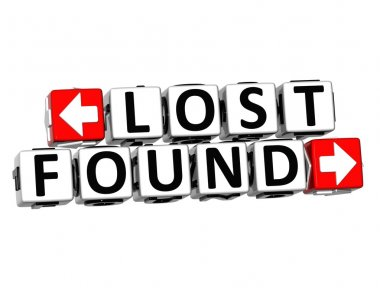 3D Lost Found Button Click Here Block Text