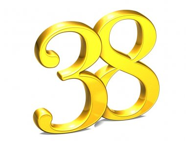 3D Gold Number thirty-eight on white background