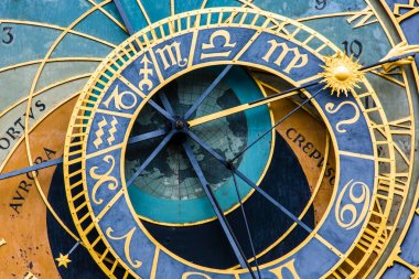 Detail of the Prague Astronomical Clock (Orloj) in the Old Town of Prague