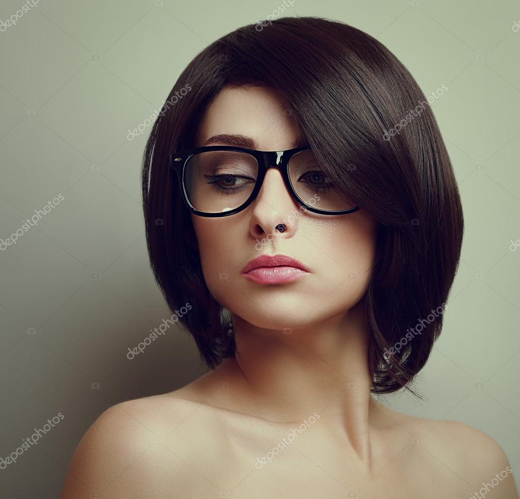 Sexy Beautiful Woman With Short Hair In Glasses Closeup Vintage