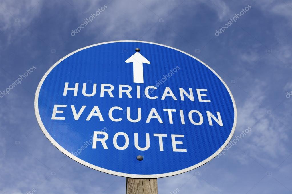 Hurricane evacuation route sign