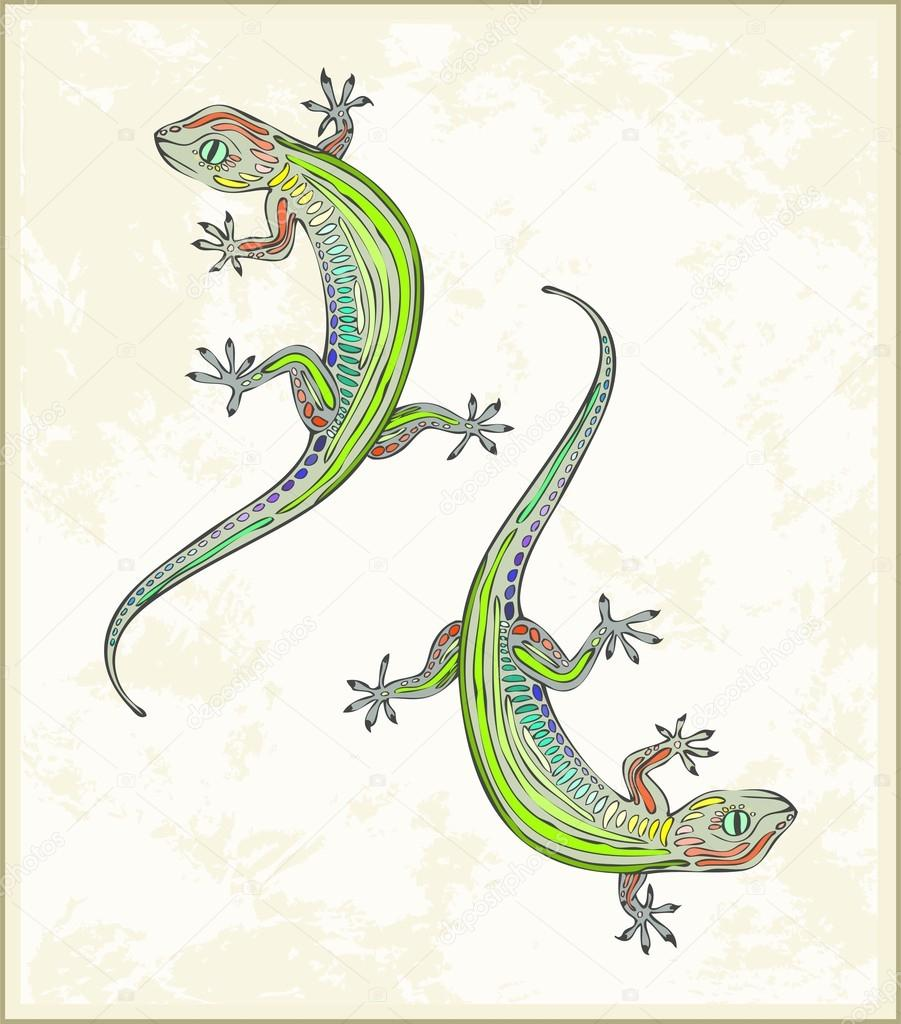 illustration lizard greeting card with two gecko animal u2013 lizard