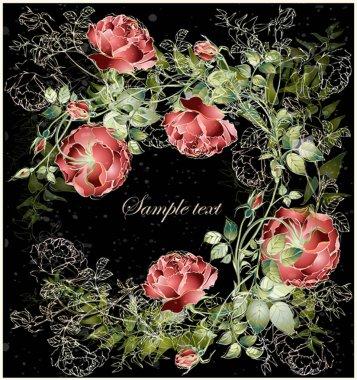 Greeting card with rose. Illustration roses. Beautiful decorati