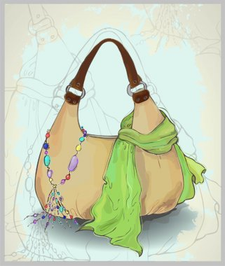 Greeting card with a scarf, a bag and costume jewelry. Illustrat