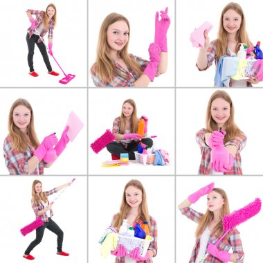 Collage of young beautiful woman doing housework