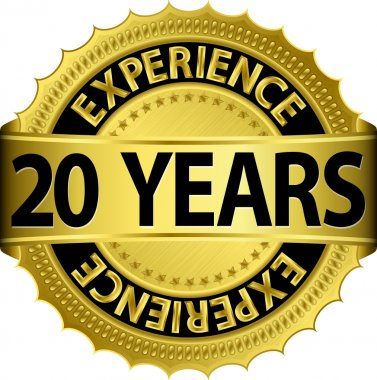20 years experience golden label with ribbon, vector illustration