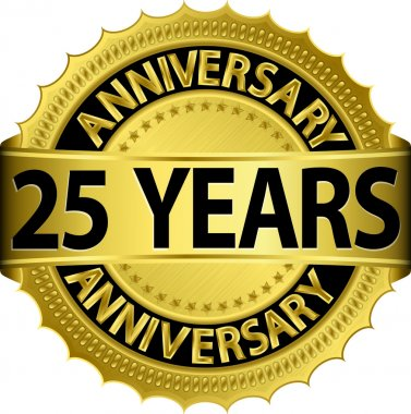 25 years anniversary goldhn label with ribbon, vector illustration