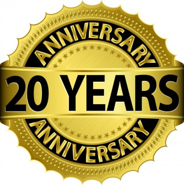 20 years anniversary goldhn label with ribbon, vector illustration