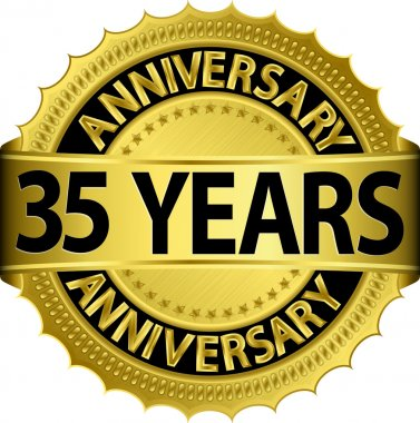 35 years anniversary goldhn label with ribbon, vector illustration